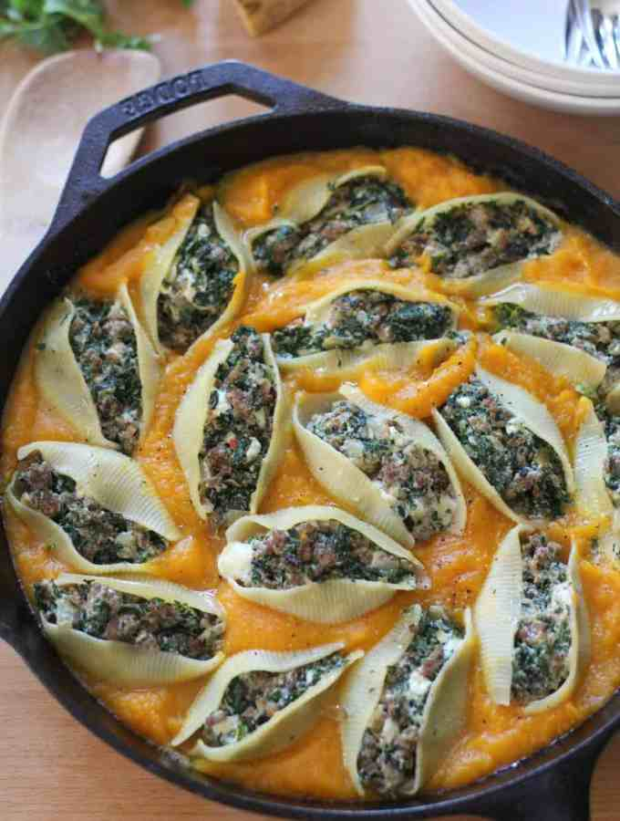 Sausage and Chard Stuffed Shells with Butternut Squash