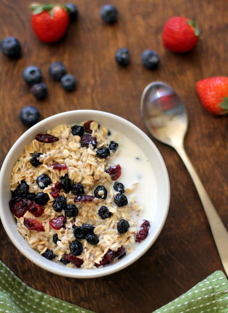 Homemade Instant Oatmeal in a bowl with fruit