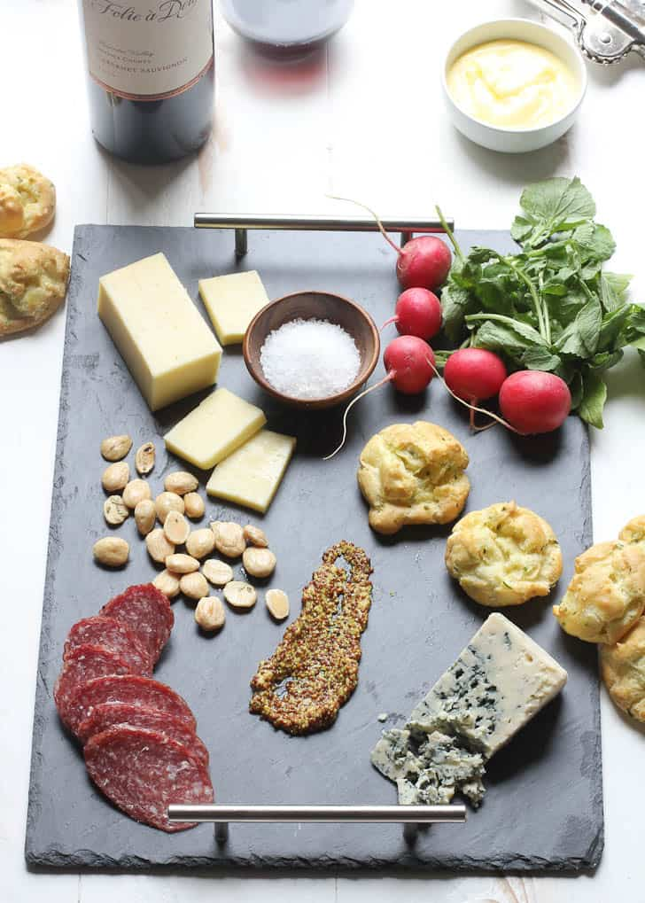 Spring Cheese Board with Herb Gougeres