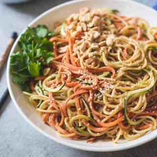 Sesame Peanut Noodles with Zucchini and Sweet Potato