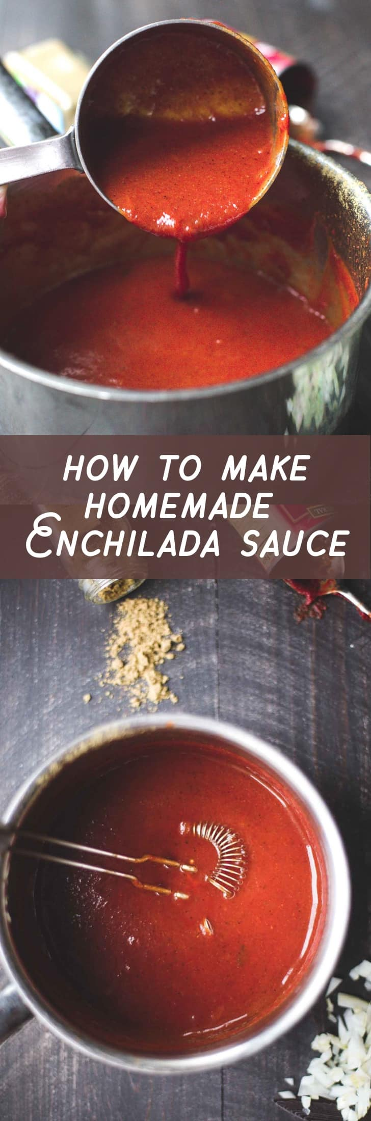Make homemade enchilada sauce in 10 minutes using pantry staples that you probably have in your kitchen this very second. Even better than a store-bought version, this homemade sauce is gluten-free, paleo-friendly, and can be totally customized to your spice and flavor preferences. Yum!