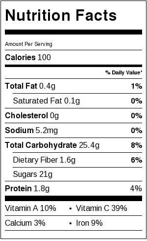 Watermelon Lime Cooler_Nutrition Label