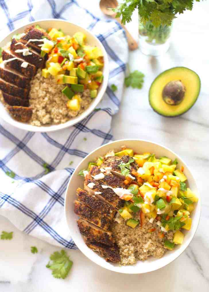 Caribbean Chicken and Quinoa Bowls