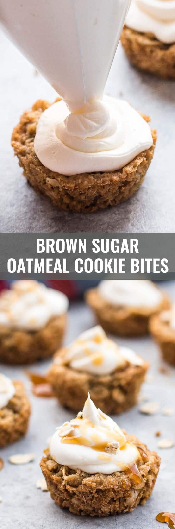 Brown sugar oatmeal cookie bites - These bite-sized oatmeal cookie cups are a fun twist on everything that is good about classic oatmeal cookie sandwiches. Made with brown sugar these treats are super tender and have a rich, caramel flavor.