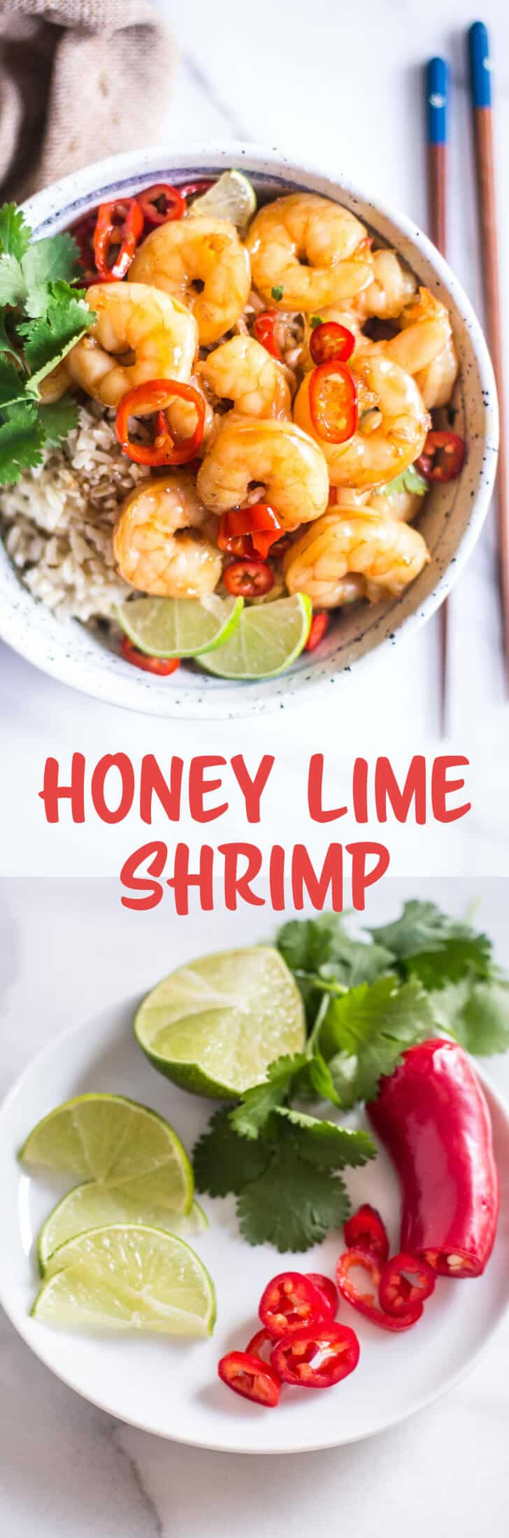 Honey Lime Shrimp - A sweet and savory sauce coats shrimp in this super fast dinner that comes together in under 15 minutes. Enjoy the shrimp in rice bowls, tacos or salads!
