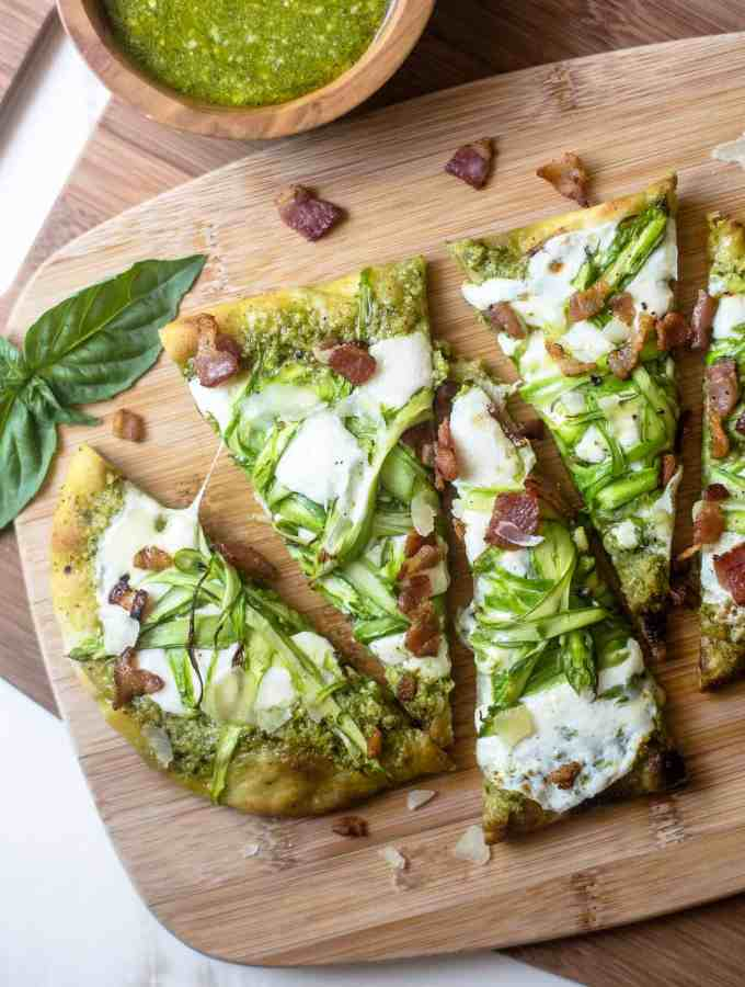 Pesto Flatbread with Shaved Asparagus and Bacon