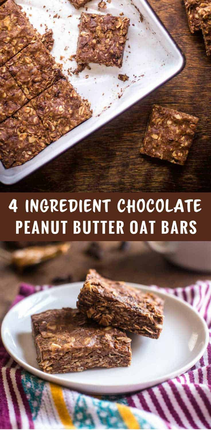 No-bake 4-ingredient Chocolate Peanut Butter Oat Bars are great for snacks or for a healthier dessert. You probably already have everything you need. - 4-Ingredient Chocolate Peanut Butter Oat Bars