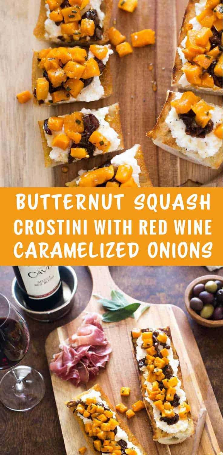 Butternut Squash Crostini with Red Wine Caramelized Onions - Everyone will love this simple and elegant crostini topped with ricotta, red wine caramelized onions, roasted butternut squash and a drizzle of honey.