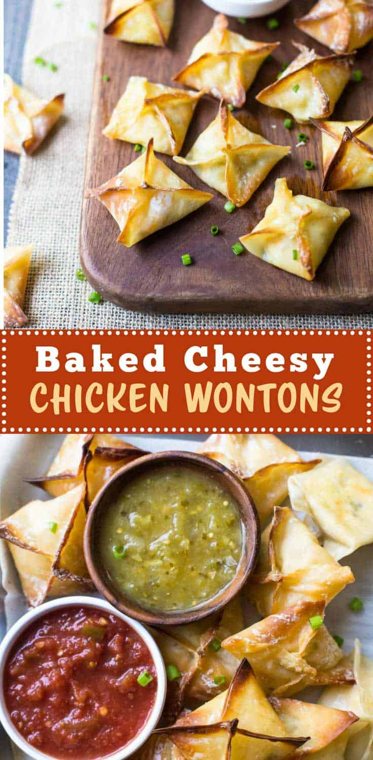 Baked Cheesy Chicken Wontons - Baked Cheesy Chicken Wontons have a crisp baked shell on the outside and warm creamy filling on the inside. Cheesy, crispy and great for dipping!