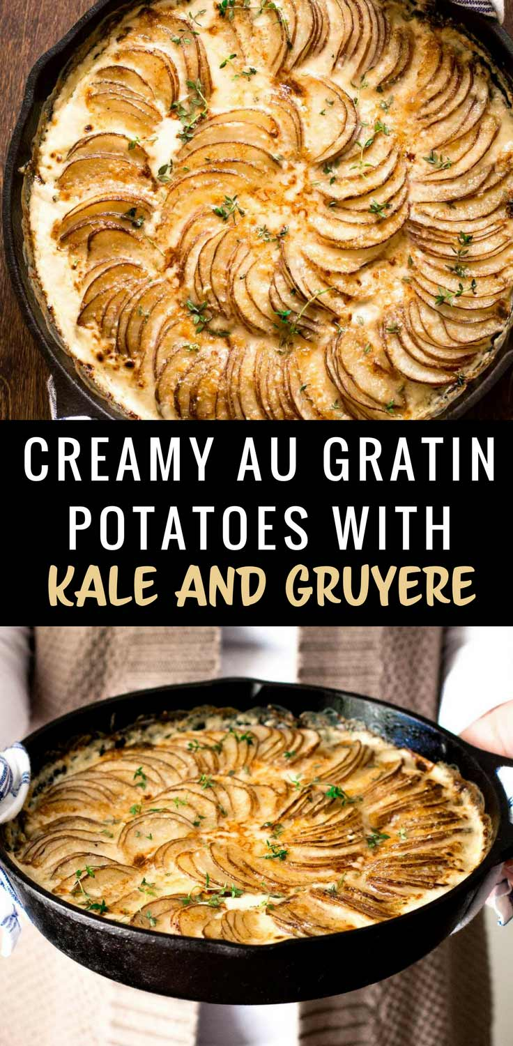 Creamy Au Gratin Potatoes with Kale and Gruyere - With a rich sauce, crisp golden crust, creamy gruyere cheese and a layer of creamed kale, this twist on au gratin potatoes is surprisingly simple.