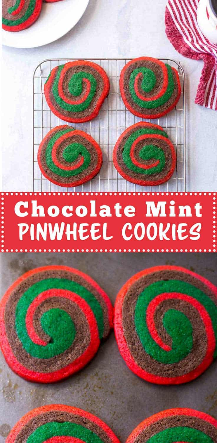 Chocolate Mint Pinwheel Cookies are tender butter cookies with swirls of red, chocolate and mint dough. Can be made ahead and frozen to slice and bake.