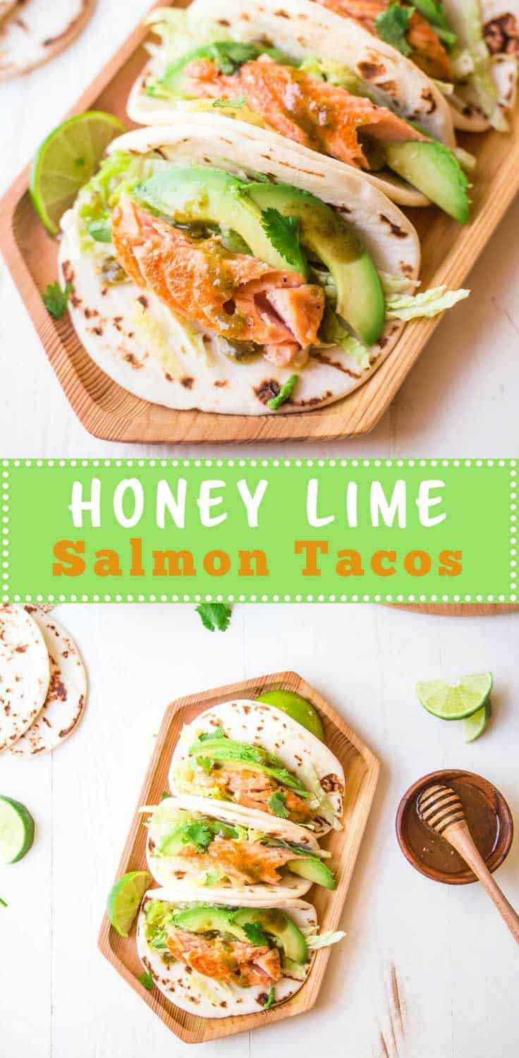 Honey Lime Salmon Tacos - A simple honey lime glaze turns thick and rich on this oven-roasted salmon. Use it as the base for quick tacos that are packed with flavor and color.
