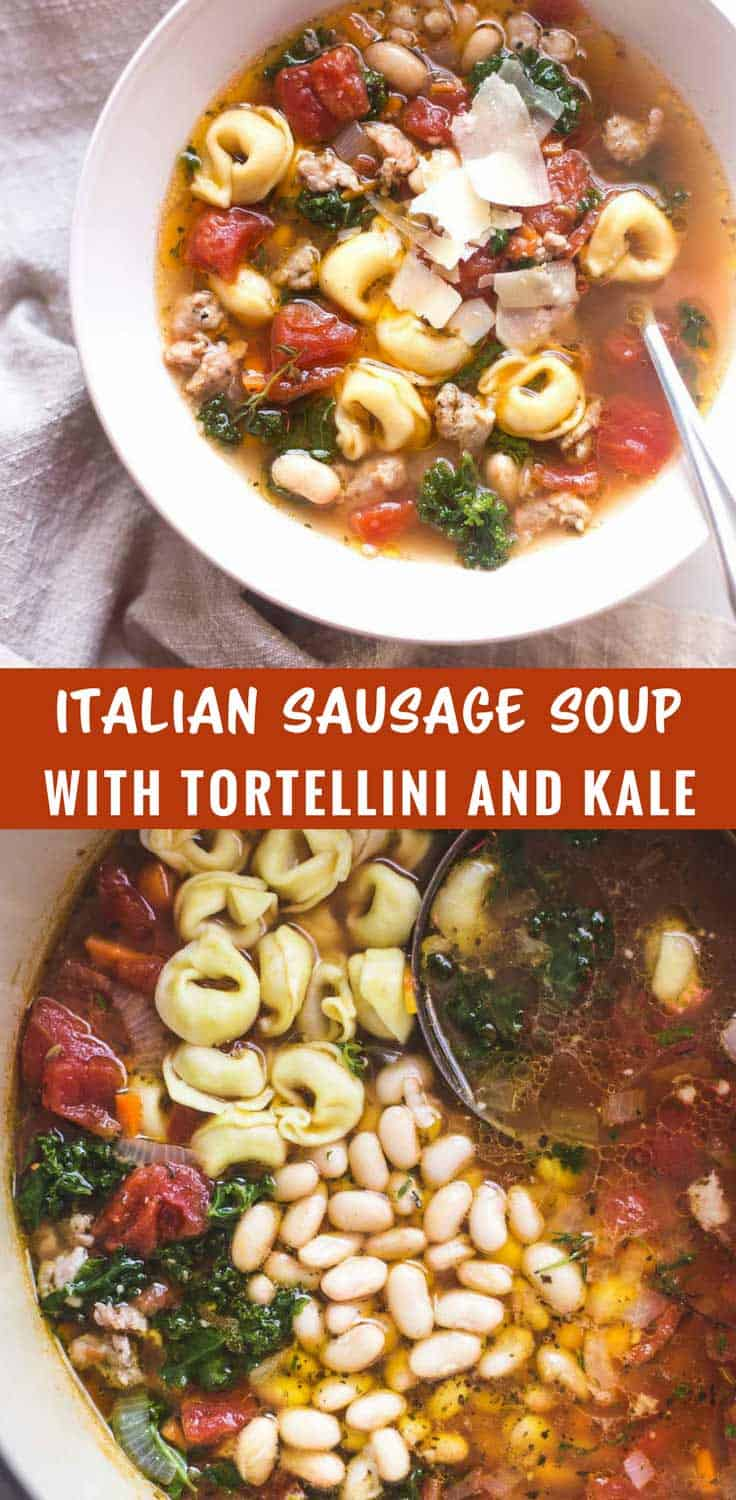 Italian Sausage Soup with Tortellini and Kale - Elegant yet so simple. Italian sausage soup with tortellini and kale is easy and healthy and is sure to become a go-to for busy weeknights.