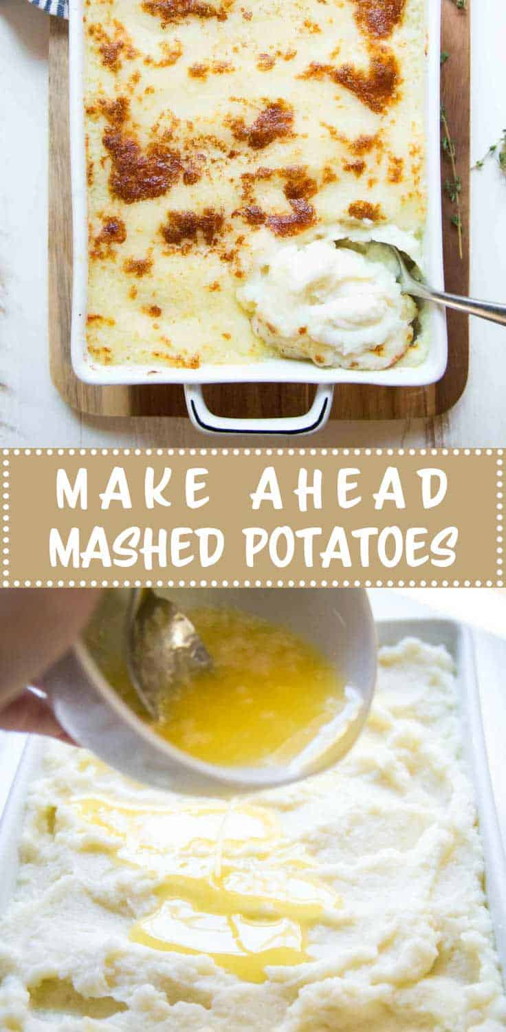 Make Ahead Mashed Potatoes - Make these mashed potatoes up to two days ahead. Top them with a butter and parmesan crust just before serving for a golden-crisp top and creamy center.