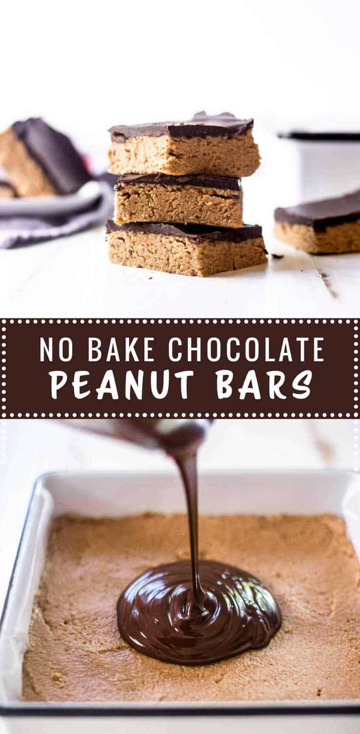 No Bake Chocolate Peanut Butter Bars - A peanut butter and graham cracker base, topped with melted chocolate makes these simple no bake bars fun to make and delicious to eat.