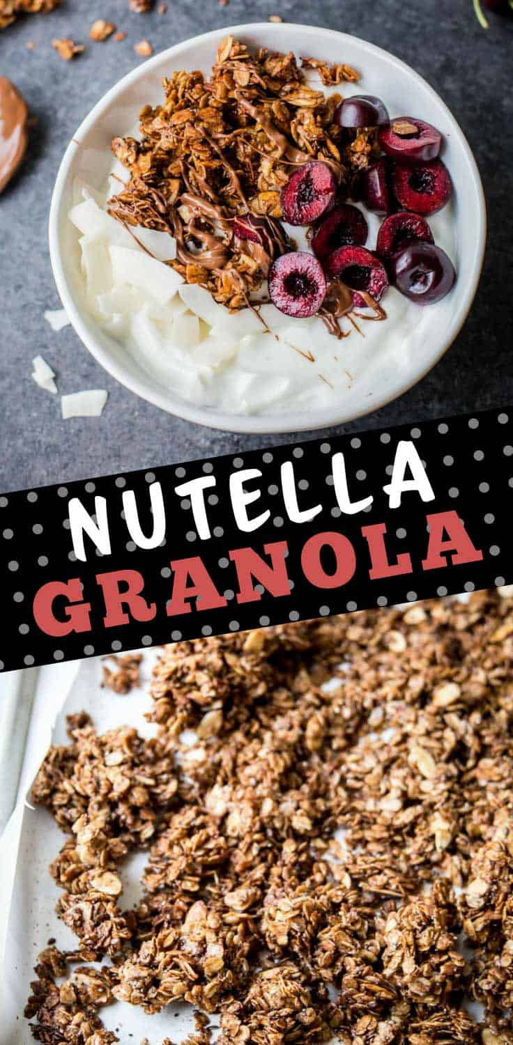 Nutella Granola - With golden brown clusters and the nutty chocolate flavor of Nutella in every bite, this simple gluten-free granola will be a family favorite.