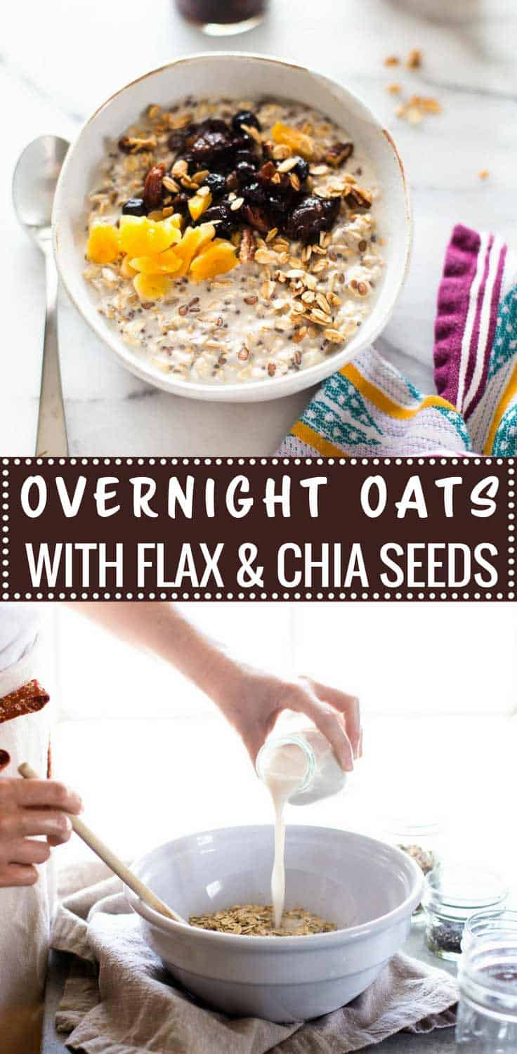 Overnight Oats with Flax and Chia Seeds - Healthy, satisfying overnight oats with flax and chia seeds can be made in five minutes with only six pantry ingredients.