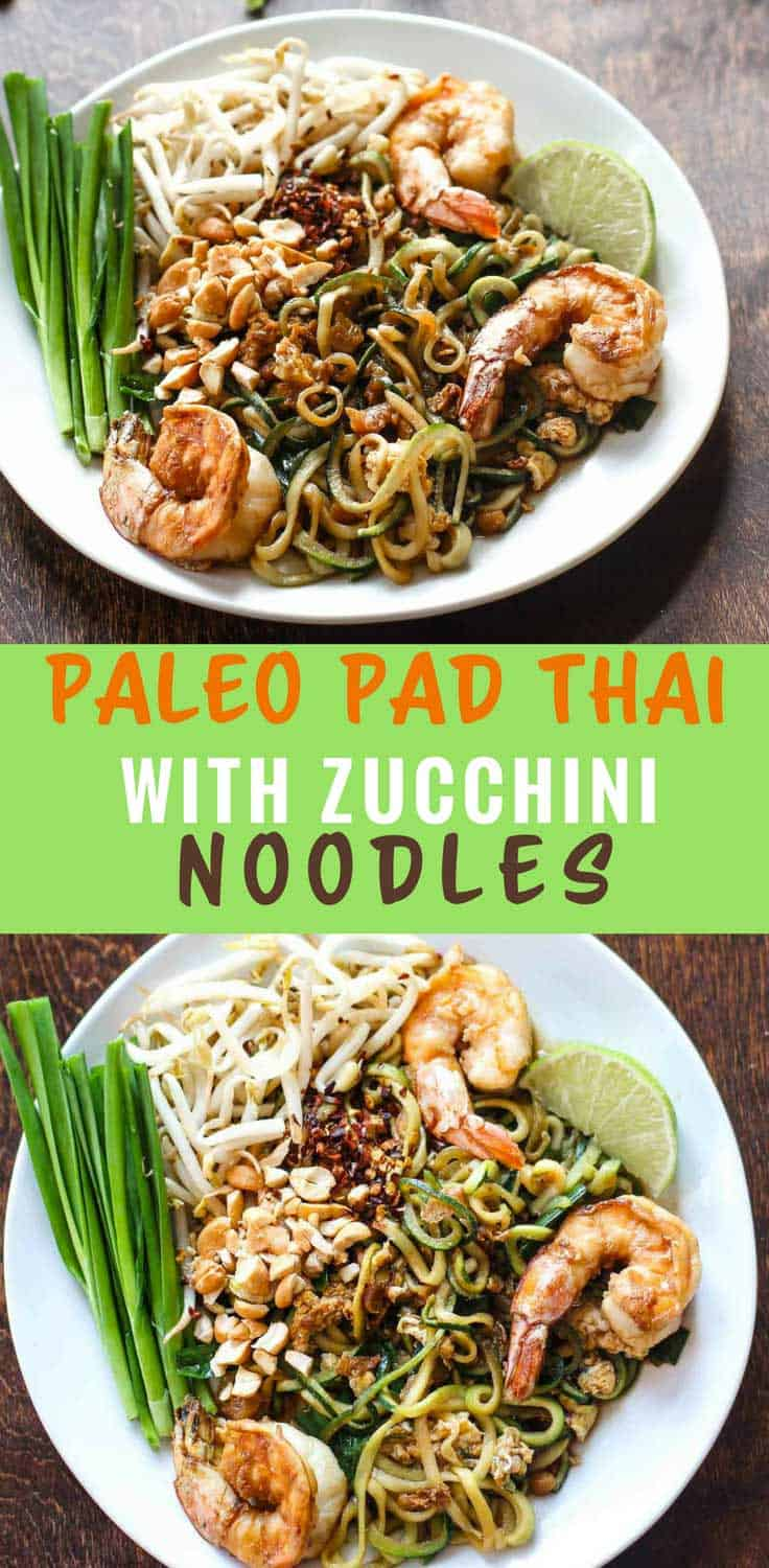 Paleo Pad Thai with Zucchini Noodles | Paleo Pad Thai with zucchini noodles is packed with vegetables and protein. It also hits all the satisfying notes of original.