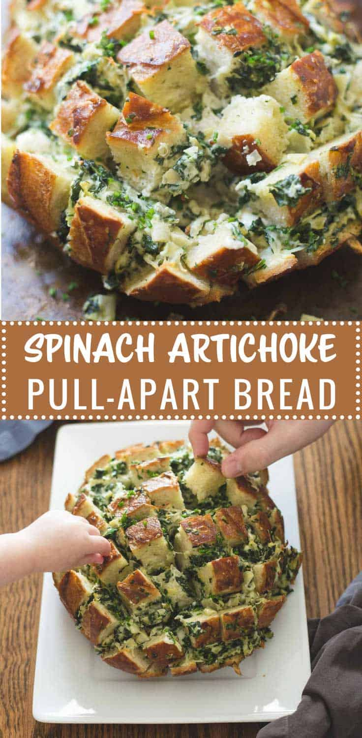 Spinach Artichoke Pull-Apart Bread - This creamy, warm, perfectly-portioned bread with a built-in version of spinach and artichoke dip is great for a crowds and always goes FAST.