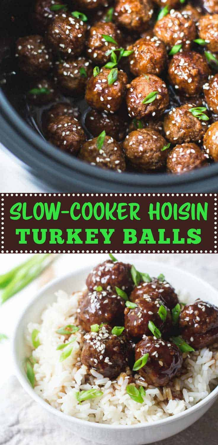 Slow-Cooker Hoisin Turkey Meatballs - Sweet and savory, these meatballs cook in just a few hours in the slow-cooker and make a great appetizer or quick weeknight dinner with rice and vegetables.