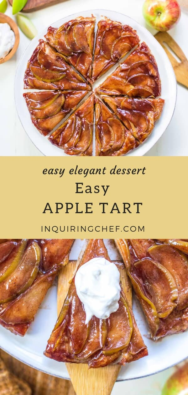Easy Apple Tart - An apple tart that is so elegant no one will guess how easy it is! Store-bought puff pastry and a cinnamon sugar glaze mean you can make this dessert in only slightly longer than it takes to slice the apples. Easy and elegant dessert.