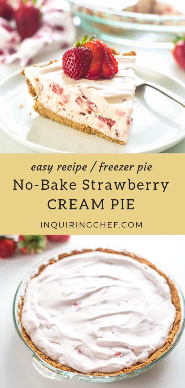 No-Bake Strawberry Cream Pie - Summertime calls for desserts that are light, fresh, and don't require the oven. No-Bake Strawberry Cream Pie is super fluffy, filled with fresh strawberries, and is served chilled for a beautiful, refreshing dessert. Easy recipe. Freezer pie.