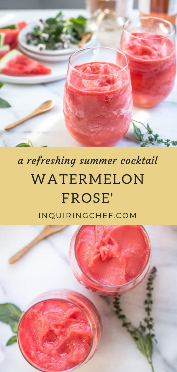 Watermelon Frosé - Frozen Watermelon + Frozen Rosé = Watermelon Frosé (otherwise known as the refreshing frozen cocktail you must try before summer is over) Easy and fun summer cocktail.