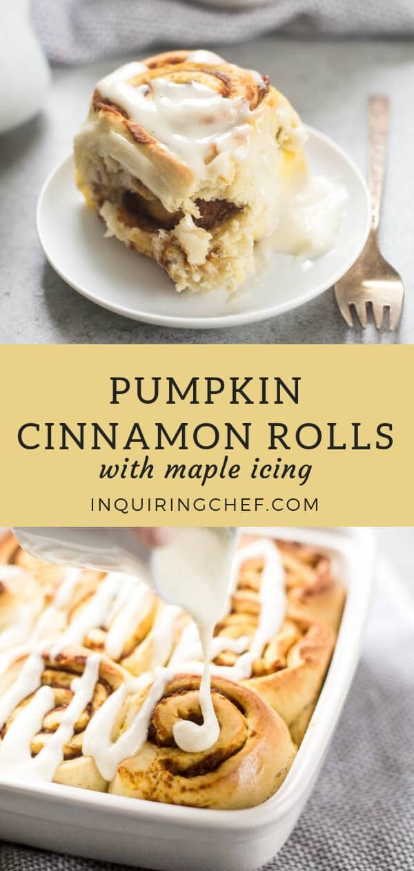 Pumpkin Cinnamon Rolls with Maple Icing - Light and fluffy cinnamon rolls made with a simple spiced dough and filled with pumpkin. Top them with sweet maple icing for a breakfast that tastes like a cozy fall morning.