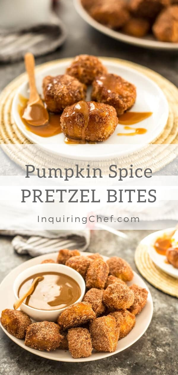 Pumpkin Spice Pretzel Bites - With chewy crusts and soft centers, these sweet pretzel bites have everything that's great about soft pretzels in a bite-sized package! Yummy dessert.  PSL