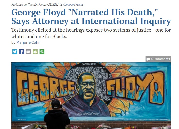 """Report: George Floyd """"Narrated His Death,"""" Says Attorney at International Inquiry"""