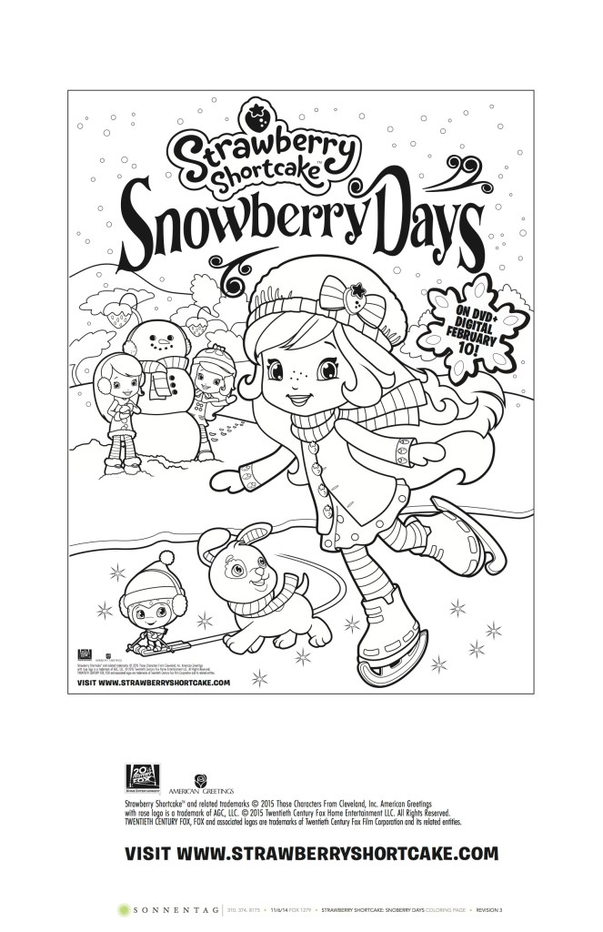 Strawberry Shortcake: Snowberry Days Coloring Sheet