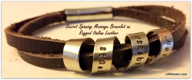 His or Hers Nice List: Personalized Secret Spinning Message Bracelet on Rugged Italian Leather