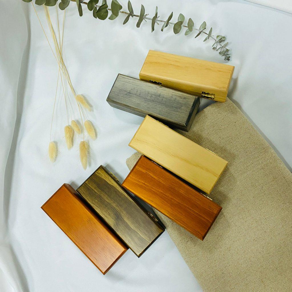 高質感實木製內絨布眼鏡盒
