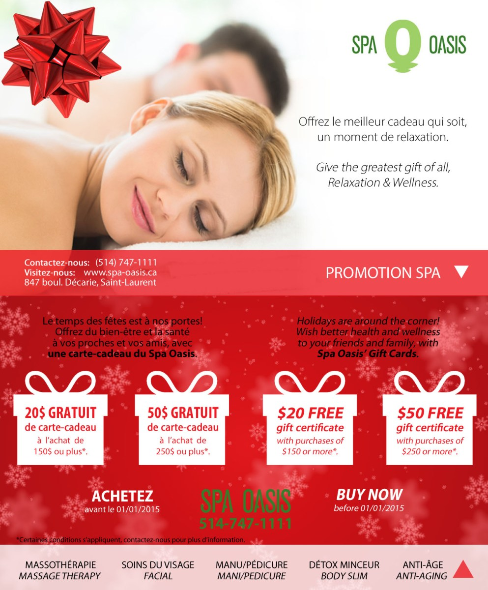 Montreal Spa Oasis Holiday Promotion For Christmas Gift