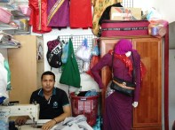 7. Mohamed Aleem, 30, has been working at a sewing station in Male' for the past six years. While the demand for such sewing stations among local women is great, the majority of male workers in this field are foreigners from neighboring countries like India, Bangladesh, Nepal and Pakistan.