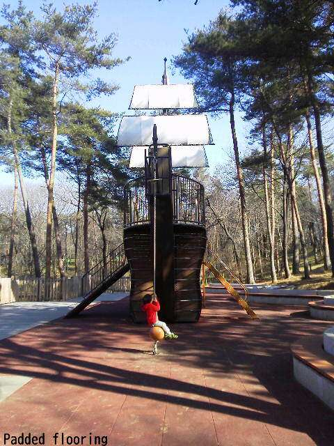 Pirate Ship in the athletic playground of Shinrin Park