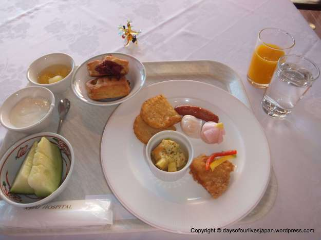 A mix of Japanese, European and Irish breakfasts Maternity hospital stay Japan