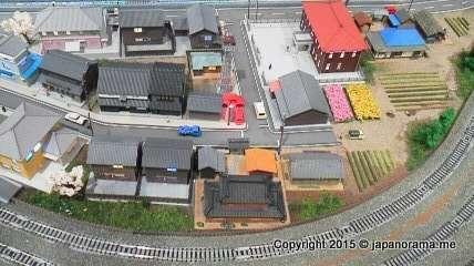 Lifelike model railway town