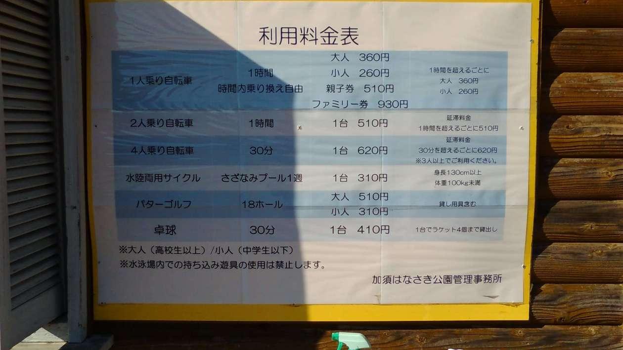 Bicycle costs at Hanasaki Park