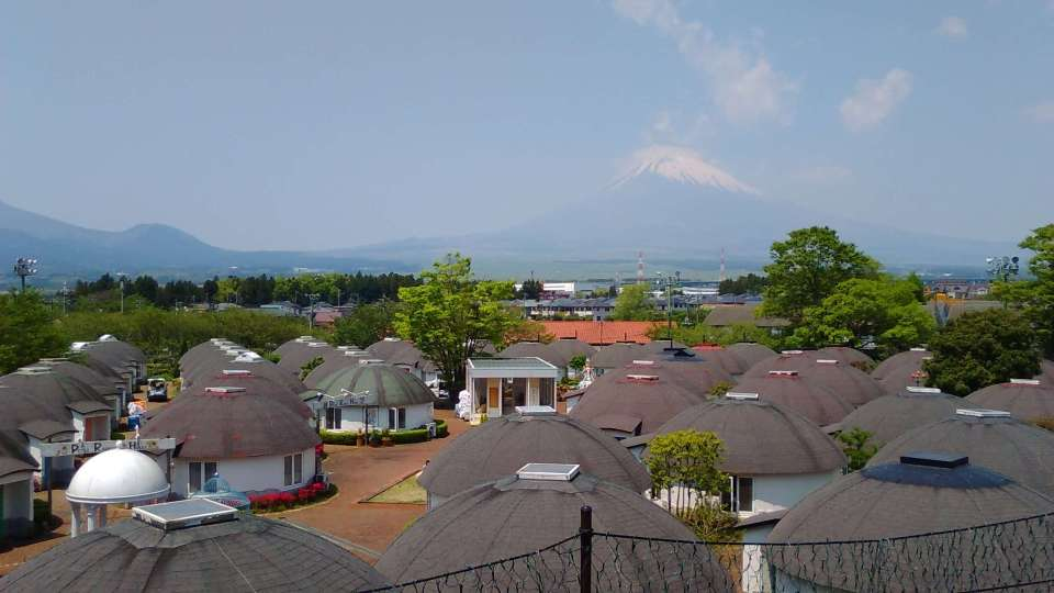 The view of the maze of Peter Rabbit lodgings taken from the Big Bang playground, with Mt Fuji in the background