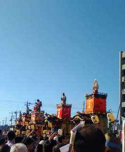 Kawagoe Festival Floats outside city hall in 2016