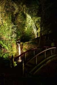 Kuroyama waterfalls light up