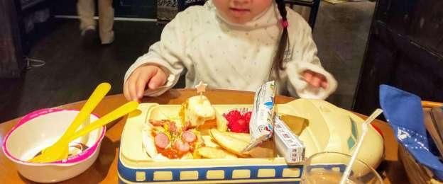 Kids shinkansen plate at railway carriage restaurant Mustard seed in Gyoda, Saitama Prefecture, Japan for train lovers