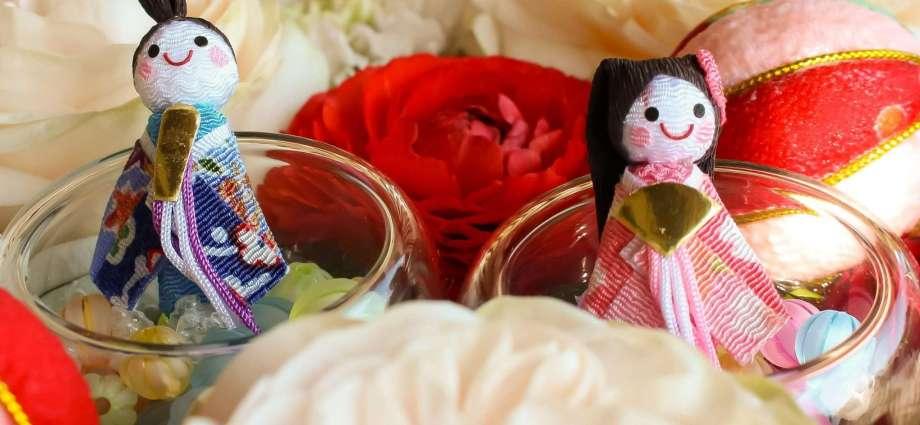 Hina Matsuri Dolls Festival floral font at Saimyouji Temple in Kawagoe