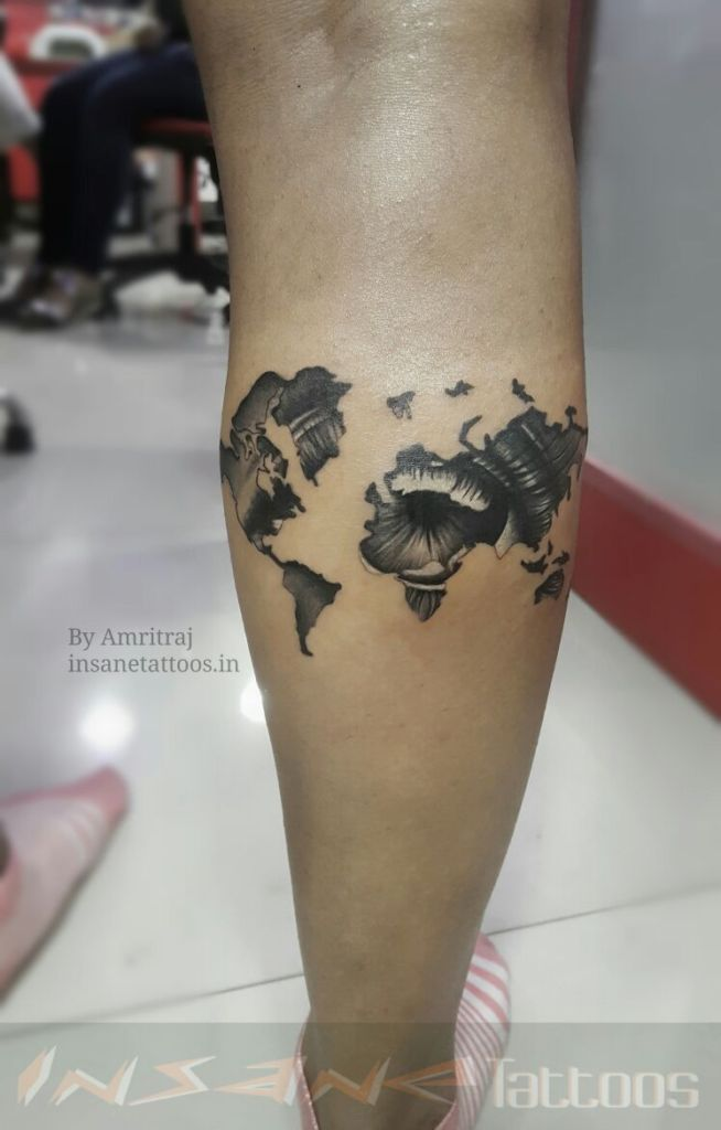 Travel Tattoo / Leg Tattoo / Compass Tattoo insane tattoos - best tattoo studio parlour in mumbai mulund juhu india All Work IMG 20161227 WA0004 654x1024