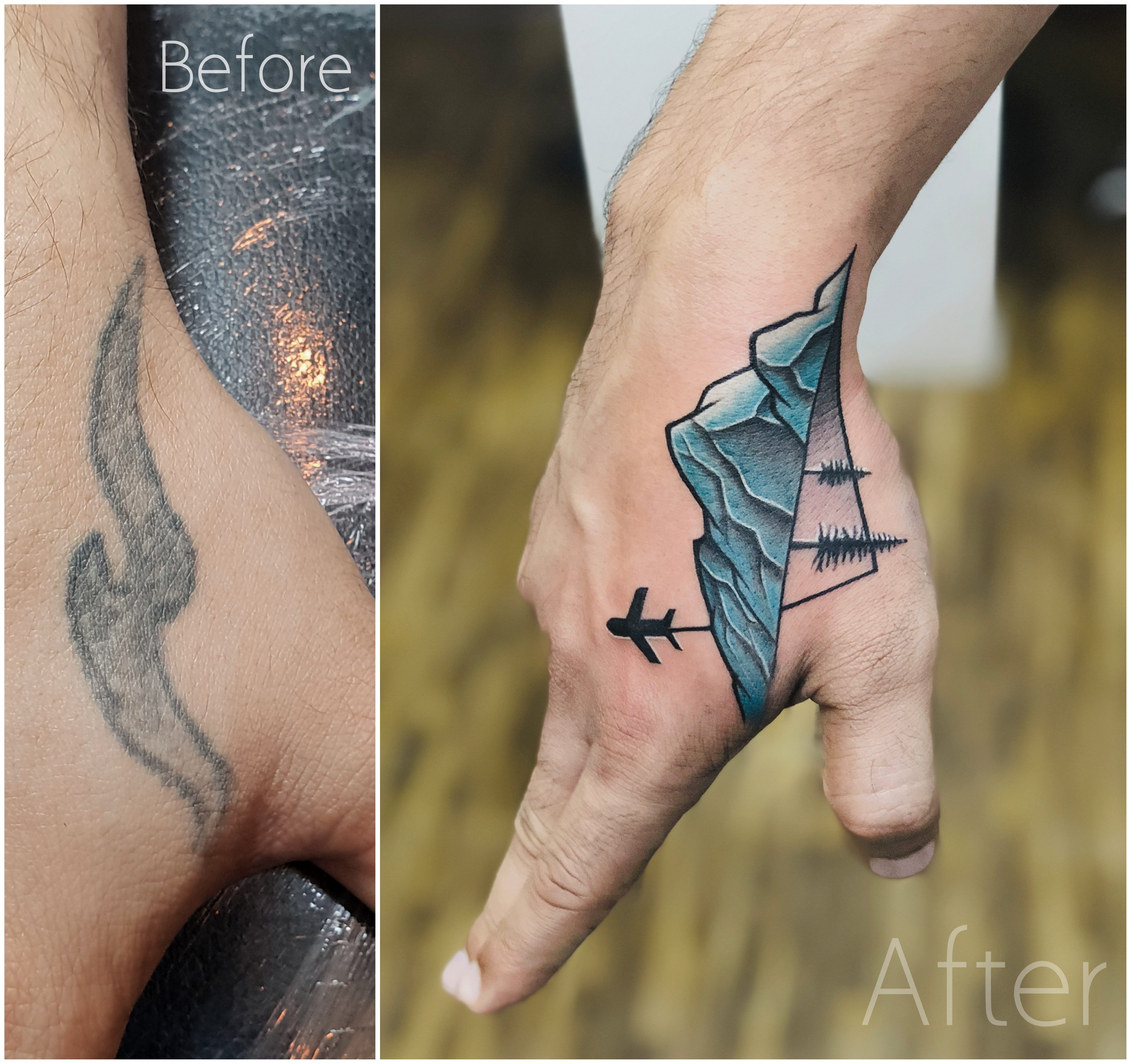 Plane Tattoo/ Mountain Tattoo/ Travel Tattoo Coverup Travelling Tattoo pixlr