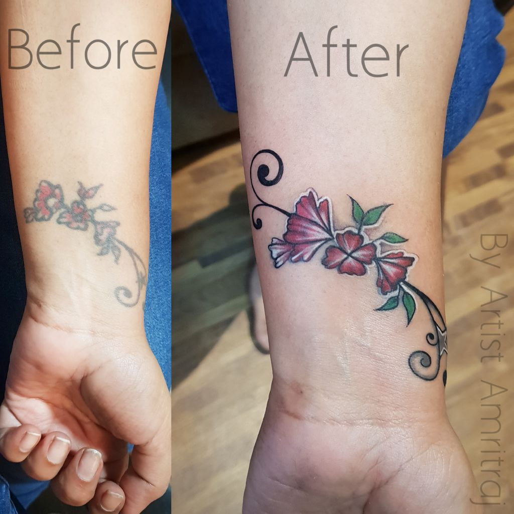 Coverup Tattoo / Shading Tattoo / Leaves Tattoo insane tattoos - best tattoo studio parlour in mumbai mulund juhu india All Work pixlr 20190927224745810 1024x1024