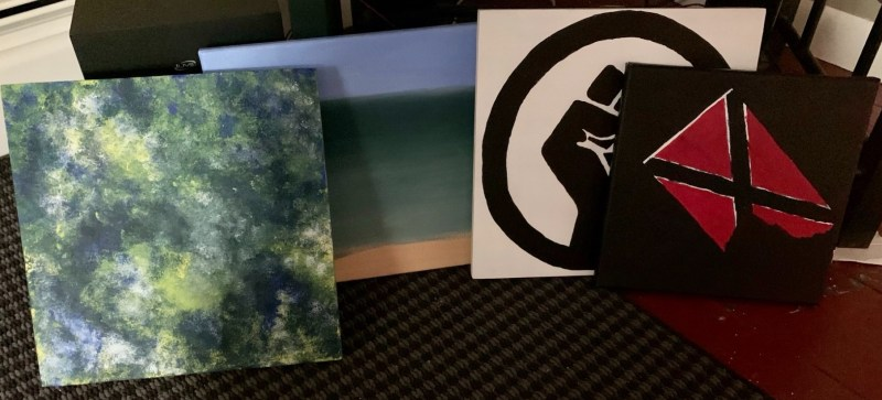 4 unfinished paintings