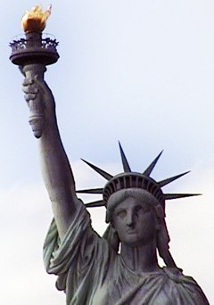 Lady Liberty, a symbol of indomitable hope