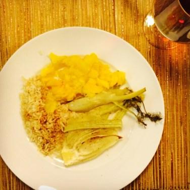 Gegrillte Ananas, Fenchel und Reis